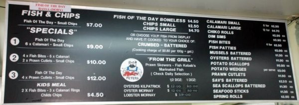 القائمة الداخلية - بيترز فيش آند شيبس Peters Fish and Chips,